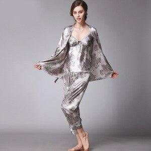 Image 3 - SSH008 Women Satin Silk Pajama Set Female 3pcs Full Sleeves Sleepwear Loungewear Women Nightgown Spring Autumn Nightwear Pajamas