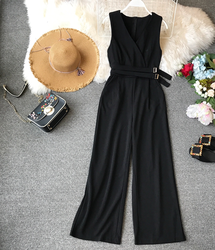 ALPHALMODA 2019 Spring Ladies Sleeveless Solid Jumpsuits V-neck High Waist Sashes Women Casual Wide Leg Rompers 5