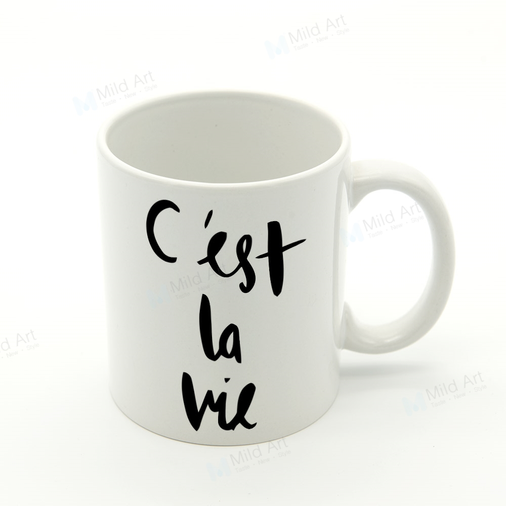 Black White Kawaii Quotes Nordic Hand Write French Kitchen Ceramic Water Cup Creative Kids Gift Cafe Bar Coffee Tea Milk Mug Set