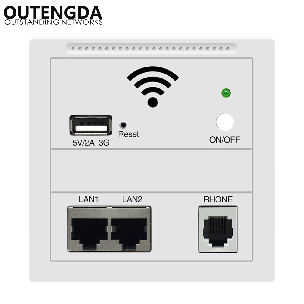 OUTENGDA in Wall AP voor smart Hotel Embedded Access Point Wi-Fi Wireless POE Ondersteund Wireless Router Repeater White / Champagne