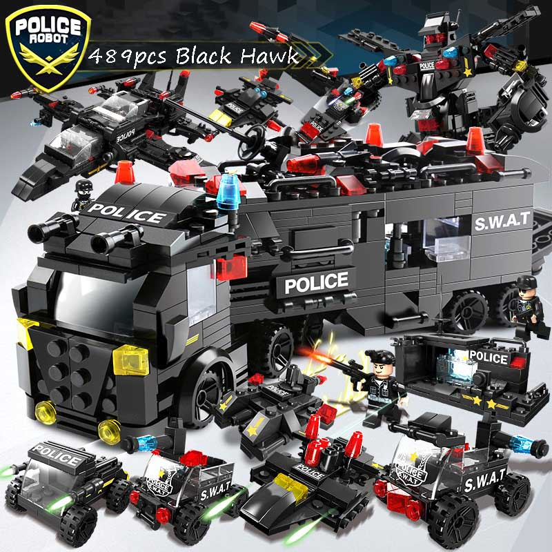 750PCS 8in1 Black Hawk Commando Truck Helicopter Block City Defender Brick SWAT Soldiers Toys For ChildrenE