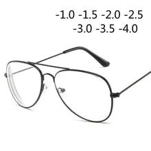 Ретро металлическая оправа кошачий глаз близорукость очки для женщин и мужчин-1,0-1,5-2,0-2,5-3,0-3,5-4,0