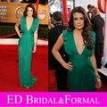 Lea Michele Vestido V Cuello Verde de Noche de Baile Celebrity Red Carpet 16a Anual Screen Actors Guild