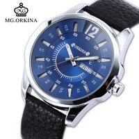 Zegarki Meskie 2016 New Clock Men Herren Luxury Bule Dial Date Day Display Leather Mens Quartz