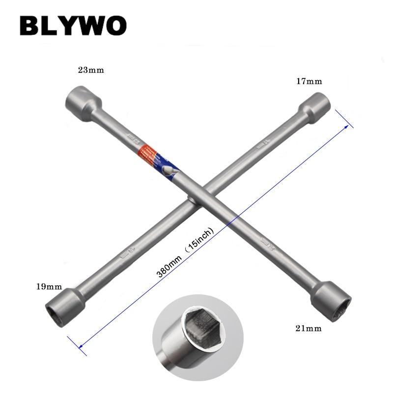 Купить с кэшбэком 15inch length Cross Wrench Auto Tyre Remover Socket Wrench Car Repair Tools Mounting Spanner Hex socket size 17/19/21/23mm