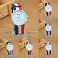 1pc Mens women sport student watch clock Personality quartz wristwatch  Multicolor Stripe Nylon Canvas Fabric Unisex analog H4