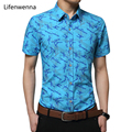 5XL 2017 New Fashion Men's Print Shirt Summer Short Sleeve Slim Fit Shirt Men Hot Sale Casual Cotton Mens Office Shirt Men