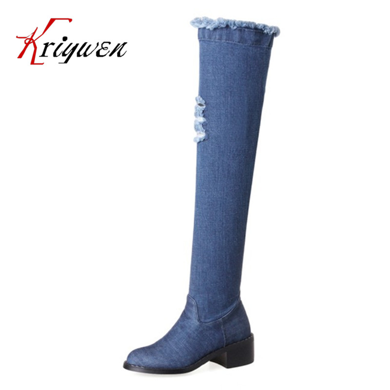 2017 new winter women motorcycle boots med heeled leisure cool knee high boots woman thigh shoes female shoes large size 34-43
