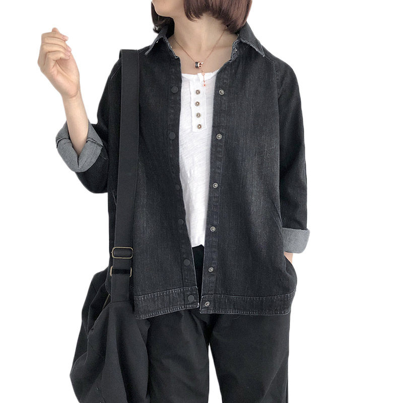 Casual Black Denim Jacket Oversize Women Jeans Shirt 2019 Spring New Korean Loose Outerwear Lady Long Sleeve Bat Cloak Tops f701