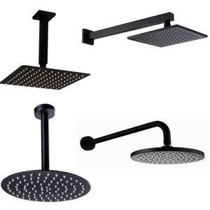 Image 1 - Черная круглая и квадратная душевая лейка ультратонкая 2 мм 8 10 12 16 дюймов на выбор настенная и потолочная душевая лейка для ванной комнаты
