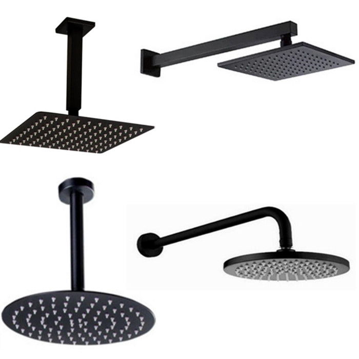 Black Round And Square Rain Shower Head Ultrathin 2 Mm 8 10 12 16 Inch Choice Bathroom Wall & Ceiling Mounted Shower Arm