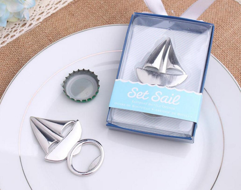 lastest fashion new alloy metal set sail boat sailing beer bottle opener summer on beach for Wedding Party Favor decor Gift