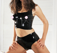 Sexy female moulded latex clothing set include bra and shorts rubber latex exotic apparel lingerie set