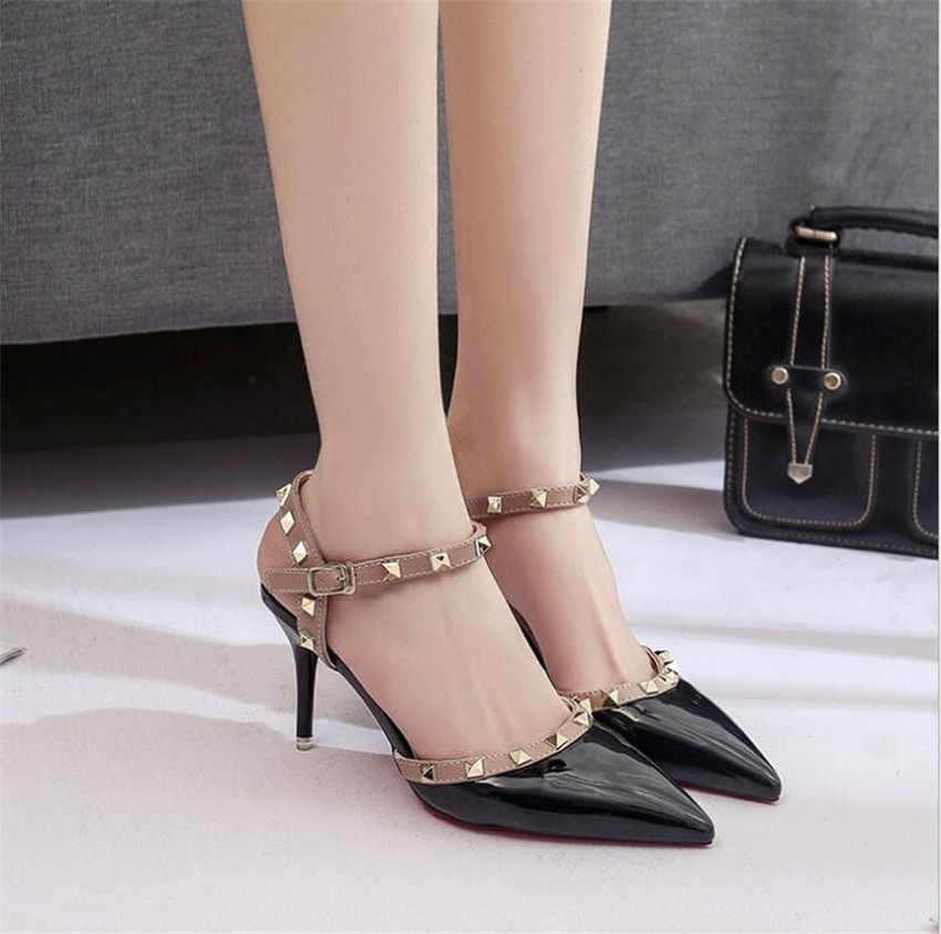 ZOUDKY The female patent leather pointed foot ring strap rivet Patent thin Heels shoes