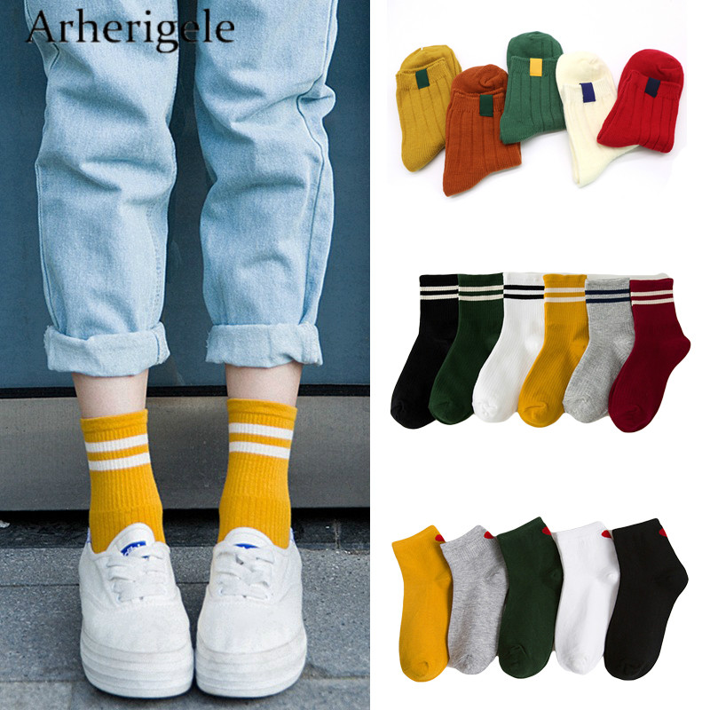 Arherigele 1pair Solid Color Women's Cotton   Socks   Fashion Cute Ankle   Sock   with Print Striped Funny   Sock   for Women Short   Socks