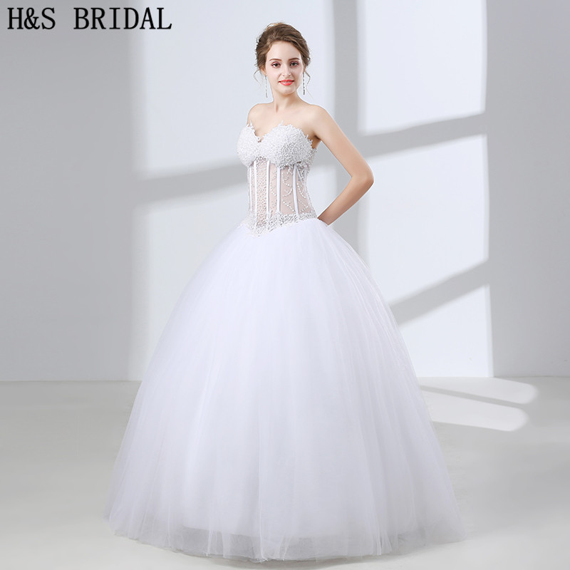 H&S BRIDAL ball gown wedding dresses Sweetheart Pearls Wedding Gown Beading  Tulle plus size wedding dress vestido-de-noiva December 2019