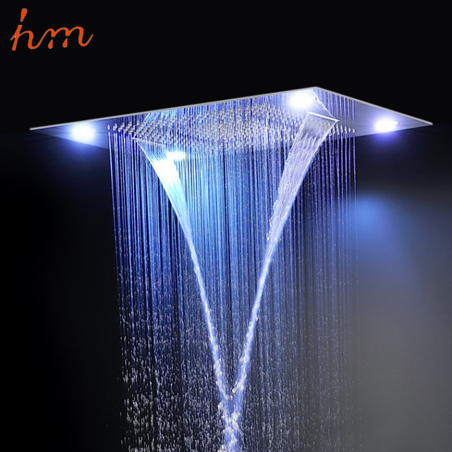 Luxury 60 80cm Rectangular 4 Function Led Light Rain Shower Head With Outer
