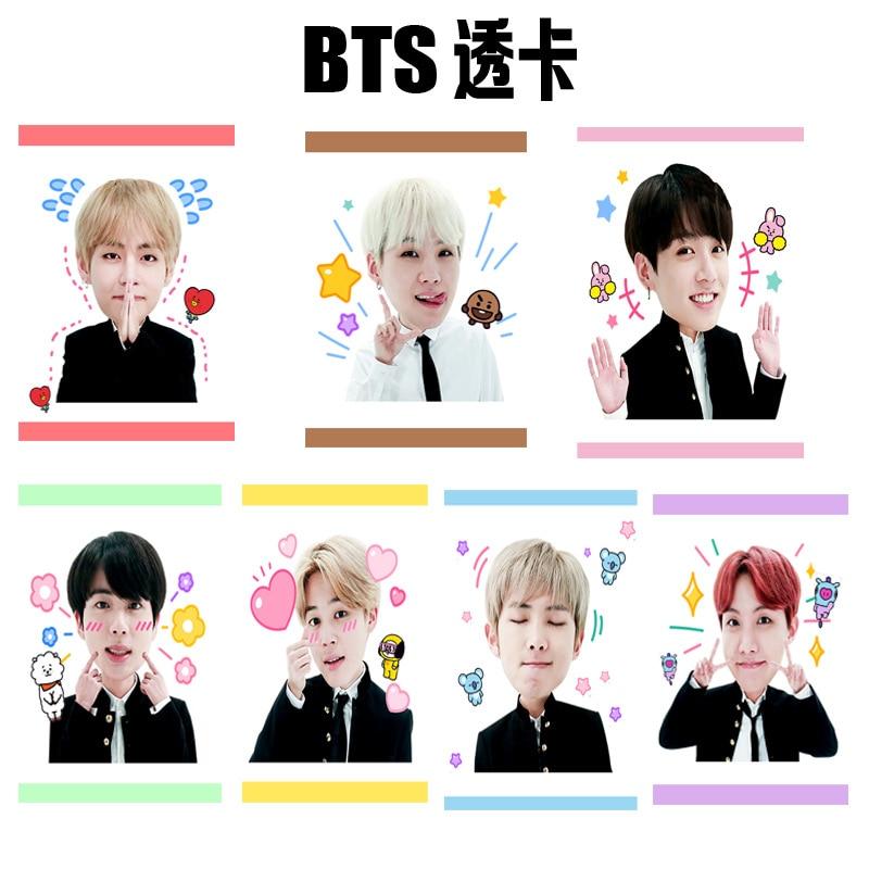 [MYKPOP]BTS Bangtan BT21 Boys Ins Photo Cards PVC K-POP Transparent Collection Cards Fans Gifts 7pcs/set SA18032704