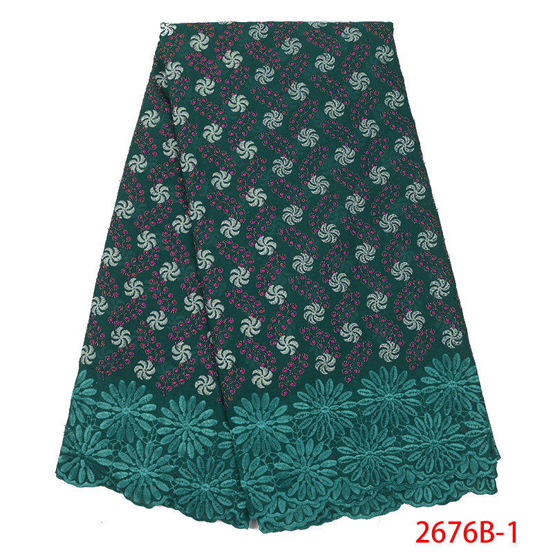 2019 High Quality African Cotton Lace Fabric Latest  Swiss Voile Lace In Switzerland Nigerian Fabric Laces For Women KS2676B-1