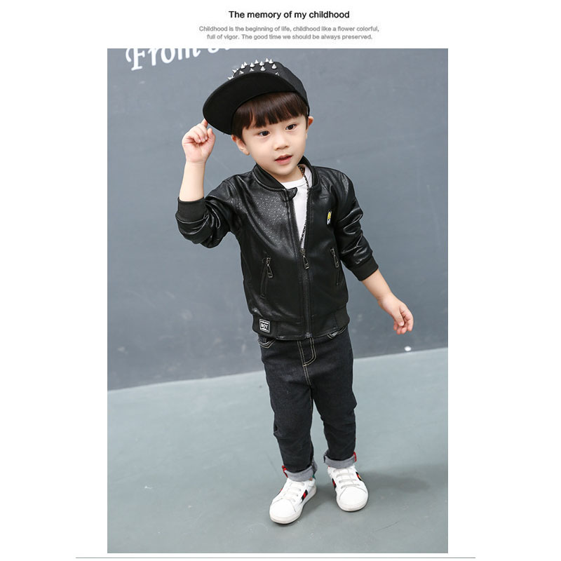 Boys leather jacket cartoon big eye children's coats jacket for boys korean kids clothes waterproof pu leather jacket kids C15