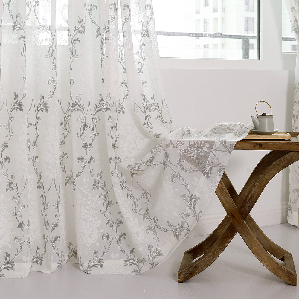 DSinterior elegant classic design burnout tulle sheer curtain for ...