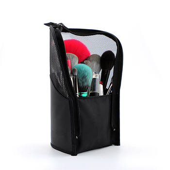 Zipper Black Travel Makeup Brush Bag Empty Organizer Pouch Pocket Holder Kit Mesh Practical Cosmetic Make Up Tool Storage Case