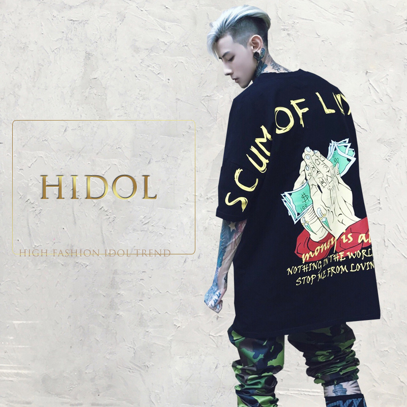 Oversize T-shirt US Money American dollar Slogan Print Black T shirt Brand Clothing Hip Hop Swag Short Tshirt Men Tee Kanye West