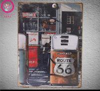 Big SIZE Targhe in metallo ROUTE 66 GAS DESIGN Wall Sticker Grande metallo Pittura Targhe in metallo Pittura Big Wall Sticker 30X40 CM decorazione per la Casa