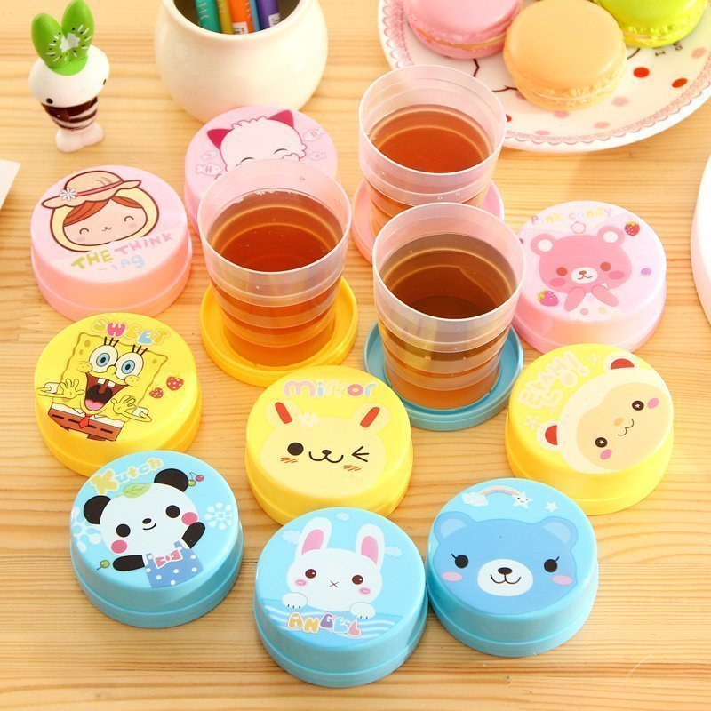 Cartoon Cute folding portable water cup Telescopic kettle Travel compressed creative home BPA plastic Material free bottle 200mlCartoon Cute folding portable water cup Telescopic kettle Travel compressed creative home BPA plastic Material free bottle 200ml