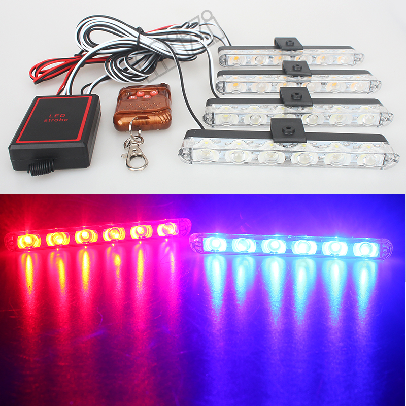 4*6 LED DRL Daytime Running Light Flash Emergency Firemen External With Remote Controller Wireless Strobe warning Lights wireless remote strobe control module universal for led stoplight drl flash controller for car back up fog light 16 patterns