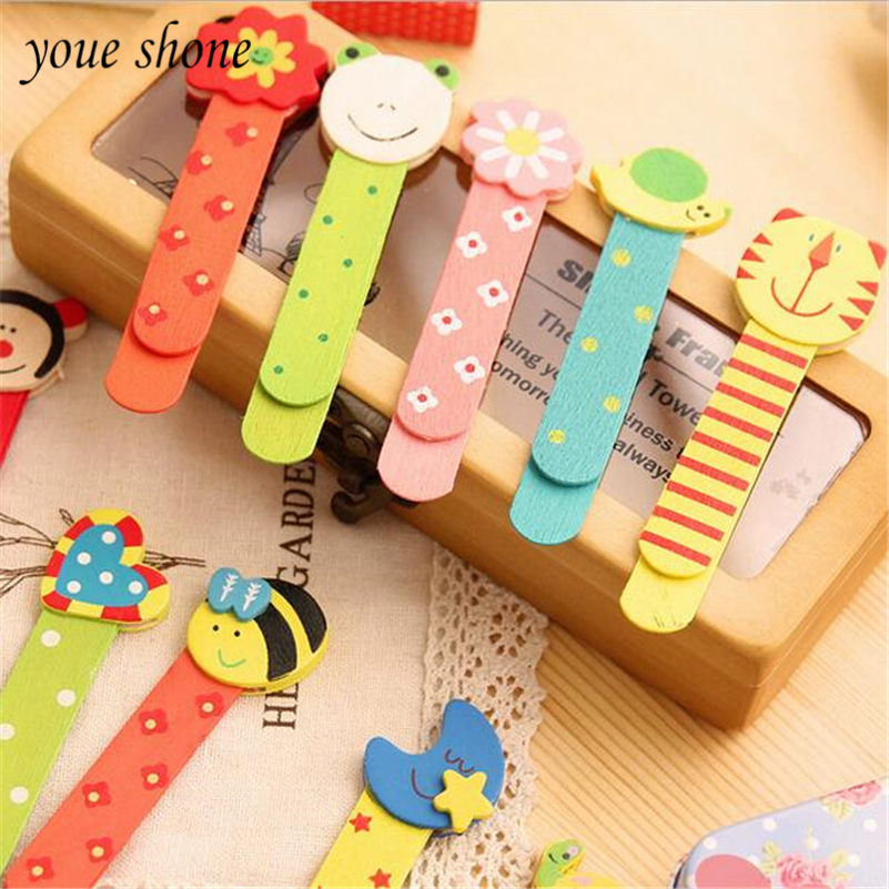 10pcs/Lots Bookmark Creative Beautiful Novelty Cartoon Animal Shape Wooden Bookmark Student Stationery Wholesale Children Gift