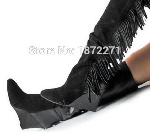 Hot Selling Black White Suede Leather Fringe Wedge Boots High Quality Tassel Knee High Winter Snow Boots For Women Free Ship hot selling chic stylish black grey suede leather patchwork boots mid calf spike heels middle fringe boots side tassel boots