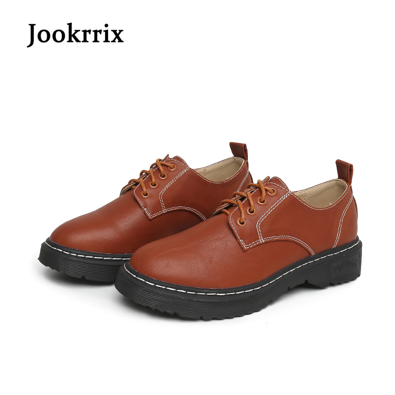 Jookrrix New Spring Fashion Women Oxford Flats Camel Pu Leather Female Retro British Style Brand Shoe Lady Leisure Lace Up Black retro style ruffles lace spliced pu leather black skirt for women