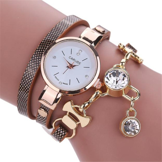 CLAUDIA Luxury Newest Fashion Style Faux Leather Bracelet Watch Women Dress Wris