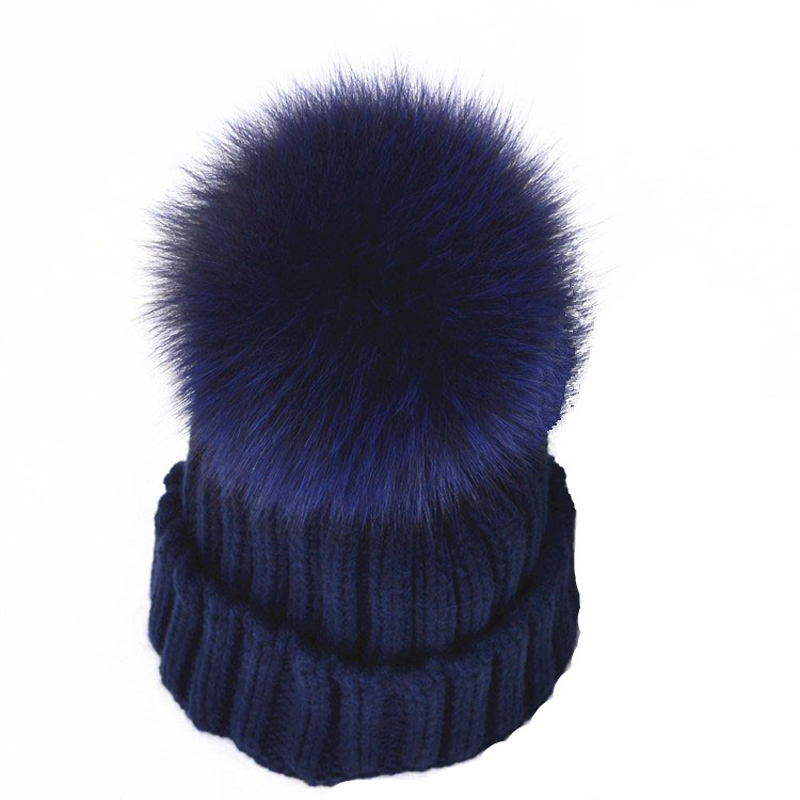Winter New Arrival Female Fox Fur Wool Ball Hat Children's Knitted Cap Baby Leisure Skullies and Beanies Many Colors knitted skullies cap the new winter all match thickened wool hat knitted cap children cap mz081