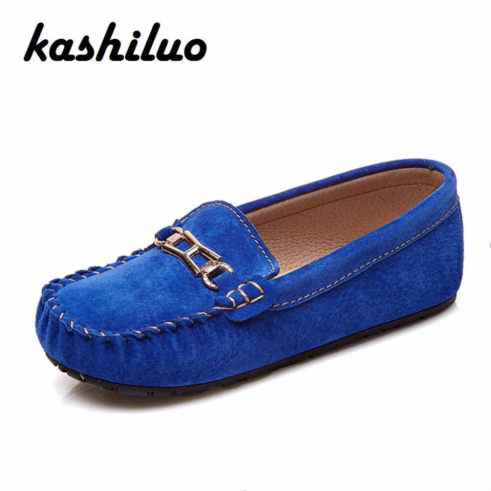 KASHILUO High Quality New Genuine Leather Children Fashion Shoe boys girls Casual shoes women comfortable kids Loafer shoes