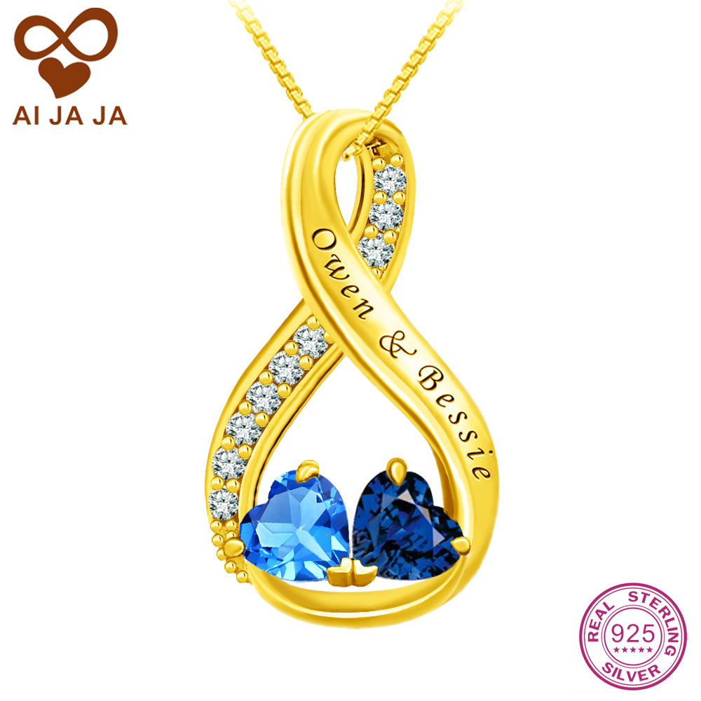 Aijaja 925 sterling silver infinity necklaces pendants aijaja 925 sterling silver infinity necklaces pendants personalized couple names engraving birthstones necklace chain for lover in pendants from jewelry mozeypictures Image collections