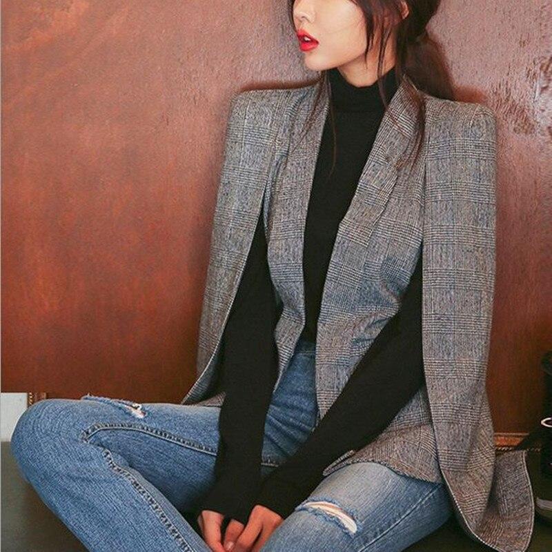 Doreenbow 1 шт. Для женщин с длинным рукавом нагрудные накидка пончо офис куртка плащ Блейзер пиджак женский в клетку осень-весна ПР пиджаки