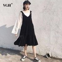 VGH Velvet Off Shoulder Suspender For Women Female Solid Sleeveless Vest Spring Black Tide Clothes Korean
