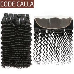 Код Калла Малайзии сырье Девы Натуральные волосы Расширение глубокая волна Связки с фронтальной 13*4 синтетическое закрытие волос