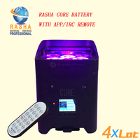 4X LOT Rasha Hex Core IRC APP Mobile 4*18W 6in1 RGABW UV Battery Operated Wireless LED UPLIGHT Fredoom LED Par Light 6/10CH