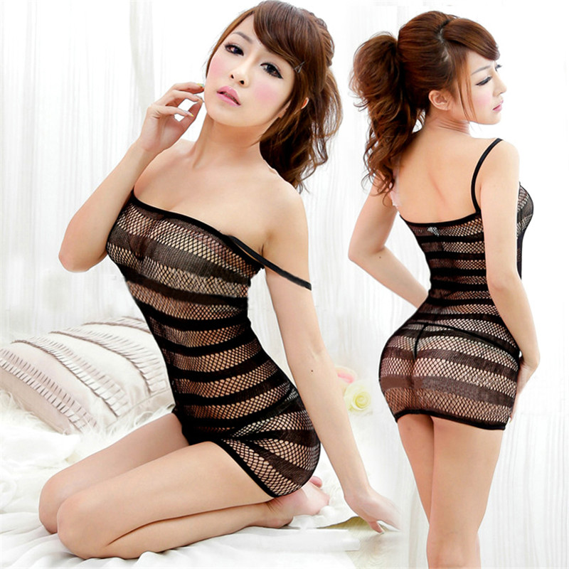 KLV Female Erotic Porn Sexy Costumes Lingerie Net Body suits nightie Nightdress Nightwear Crotch Dress Body Stocking Intimates(China)