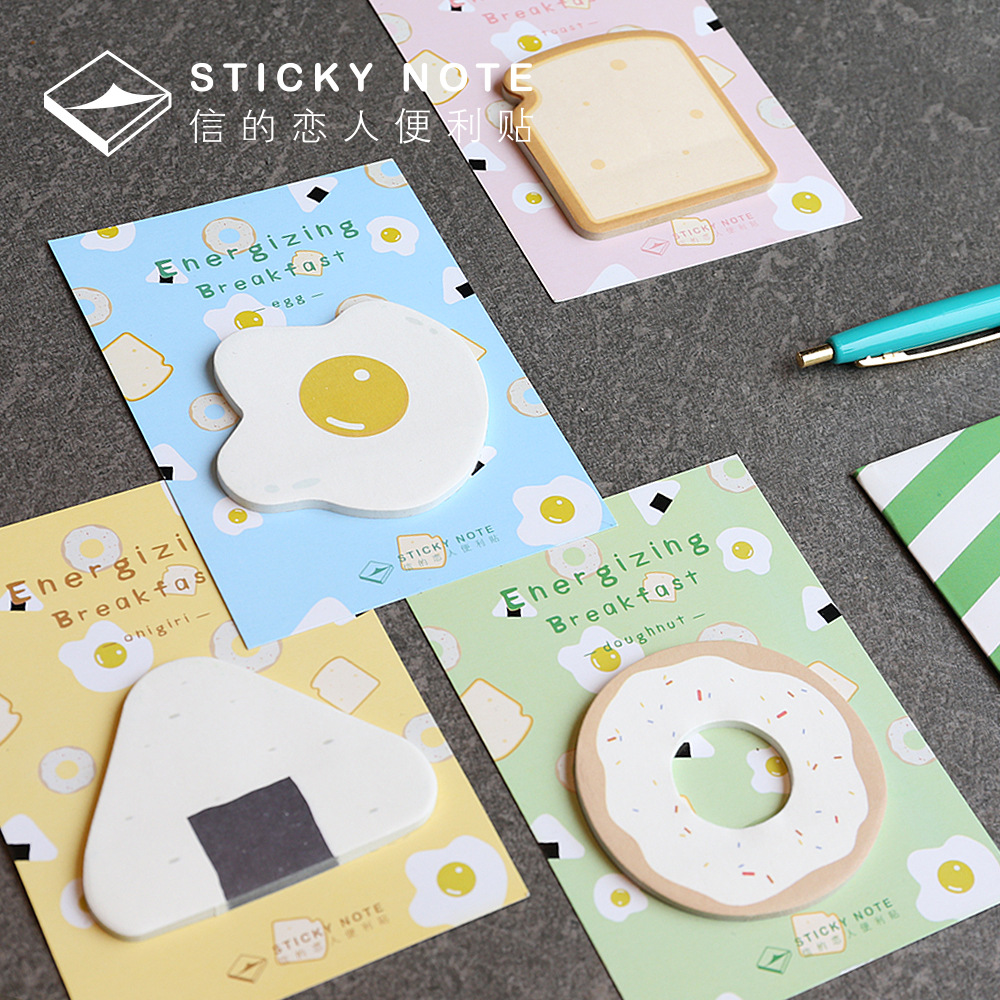 8 pcs/Lot Morning breaker sticky notes Kwaii breakfast donut toast Adhesive Memo post Stationery Office School supplies F136