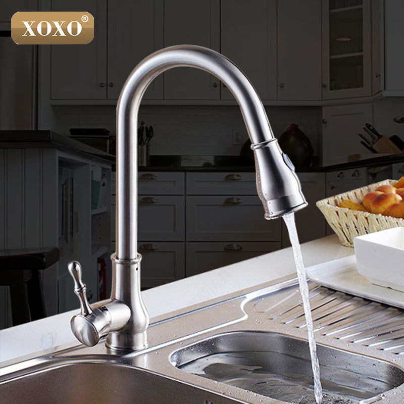 XOXO Kitchen Faucet Brass Brushed Nickel High Arch Kitchen Sink Faucet Pull Out Rotation Spray Mixer Tap Torneira Cozinha 83014 frap new white black flexible kitchen sink faucet brass 360 degree rotation torneira cozinha water tap mixer kitchen goods f4042