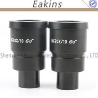 A Pair WF20X/10 Eyepiece for Stereo Microscope High Eye point Wide Angle Optical Lens Mounting Size 30mm Field of View 10mm