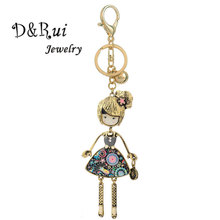 New Cute Doll Pendant Keychain Key Chain Rings Women Enamel Zinc Alloy keychains Holder for Good Friends Creative Birthday Gift