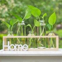 O.RoseLif Brand Wooden Glass Vase Set for Office Desktop Decor Plant Epipremnum Aureum Vase Without Home Decoration Accessories