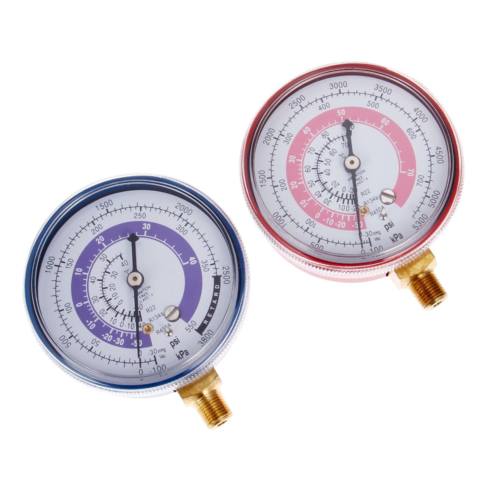 Yetaha 2Pcs R22 R12 R134a R410 High & Low Refrigerant Pressure Gauge 1/8''  NPT Air Conditioner Pressure Gauge