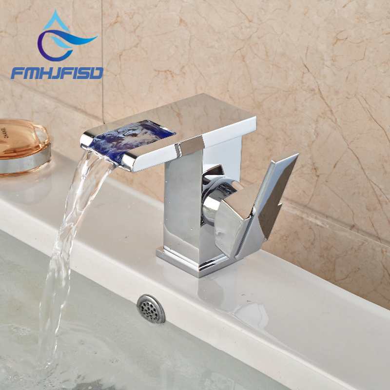 Modern Square LED Waterfall Chrome Brass Bathroom Faucet Vanity Sink Mixer Tap Single Handle Hole