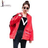 Red Women Denim jacket 2019 Spring Autumn Fashion Tassel Coat Two ways of wearing Trend jackets women Short Denim jackets DD0883